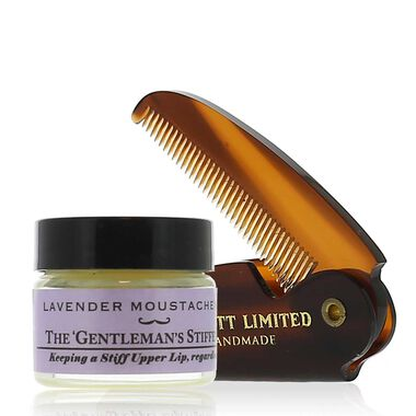 Mustache Wax And Comb Gift Set- Lavender
